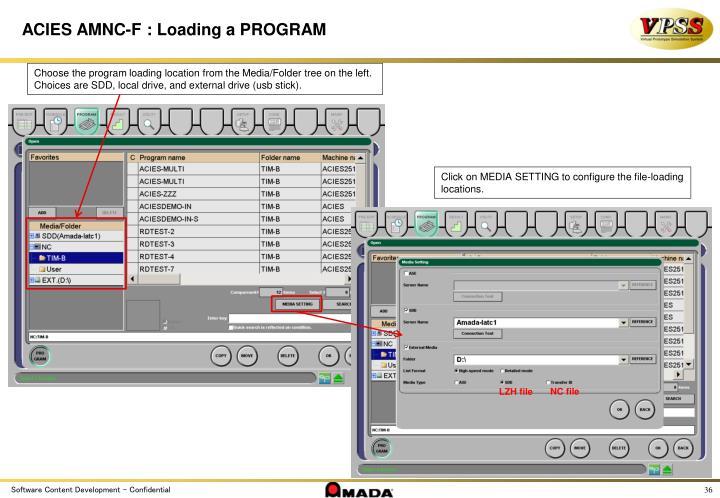 ACIES AMNC-F : Loading a PROGRAM