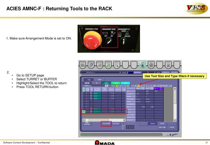 ACIES AMNC-F : Returning Tools to the RACK