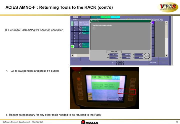 ACIES AMNC-F : Returning Tools to the RACK (cont'd)