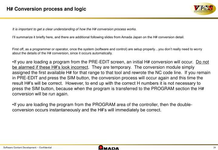 H# Conversion process and logic