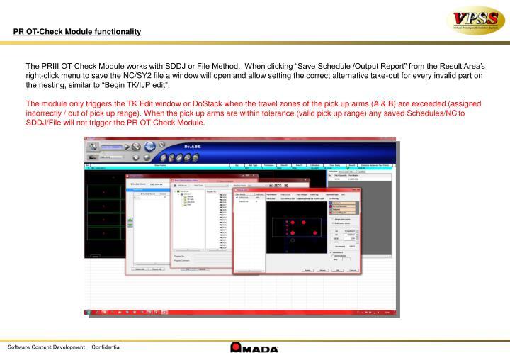 PR OT-Check Module functionality