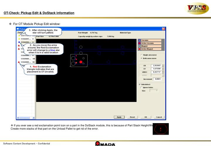 OT-Check: Pickup Edit & DoStack information