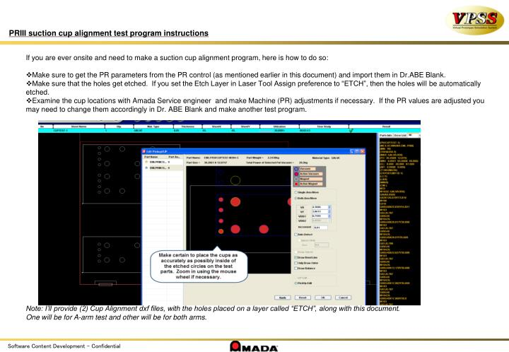 PRIII suction cup alignment test program instructions