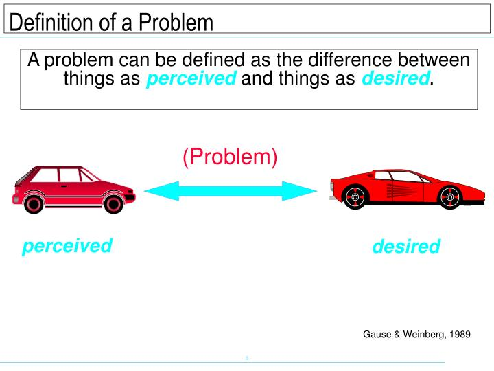 A problem can be defined as the difference between things as