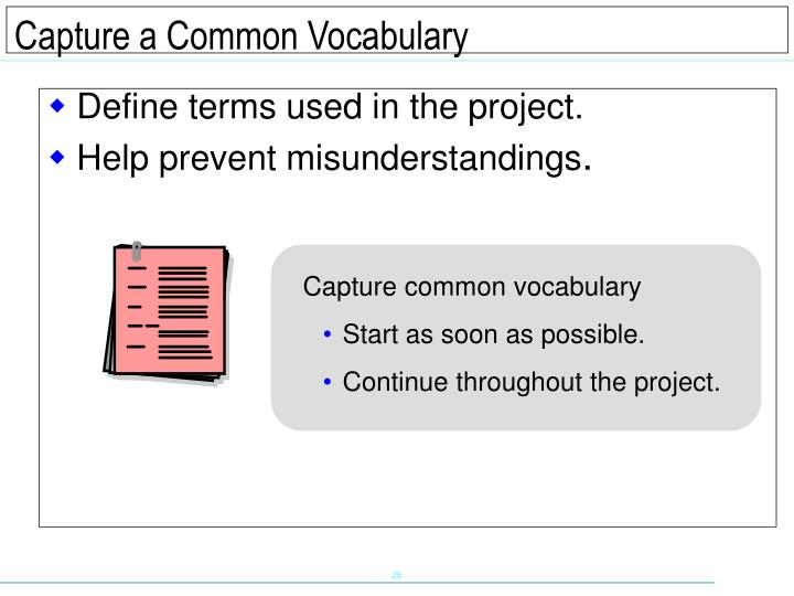Define terms used in the project.