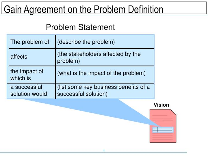 Gain Agreement on the Problem Definition