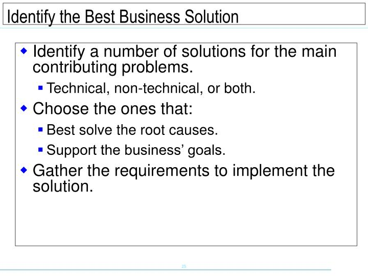 Identify a number of solutions for the main contributing problems.