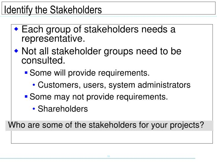 Each group of stakeholders needs a representative.