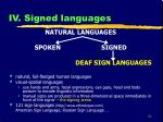 iv signed languages