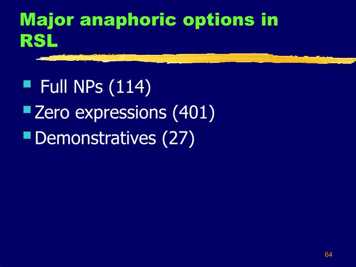 Major anaphoric options in RSL