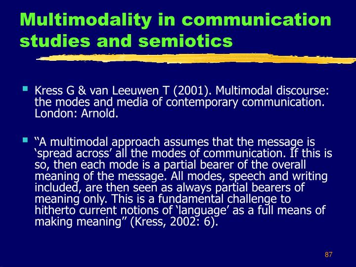 Multimodality in communication studies and semiotics