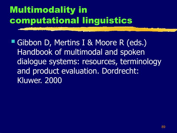Multimodality in computational linguistics