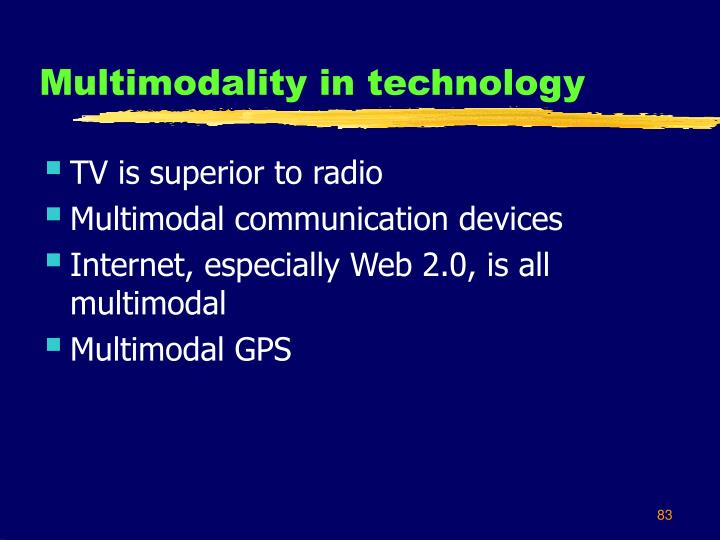 Multimodality in technology