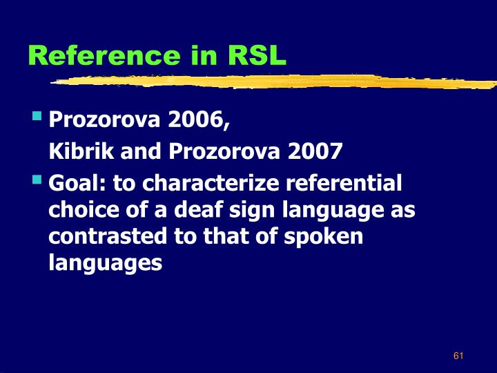 Reference in RSL