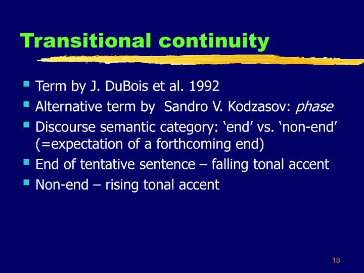 Transitional continuity