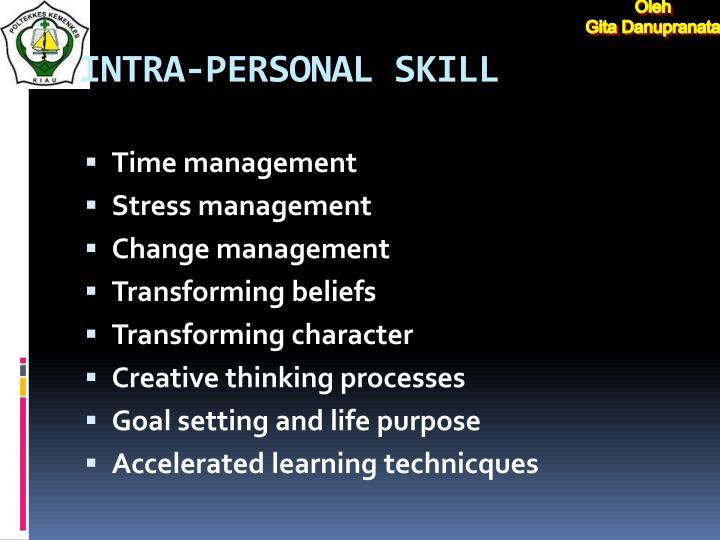 INTRA-PERSONAL SKILL