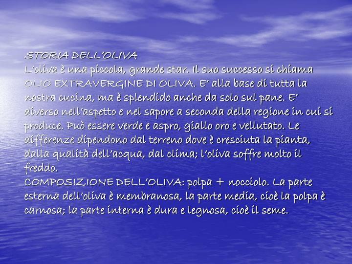 STORIA DELL'OLIVA
