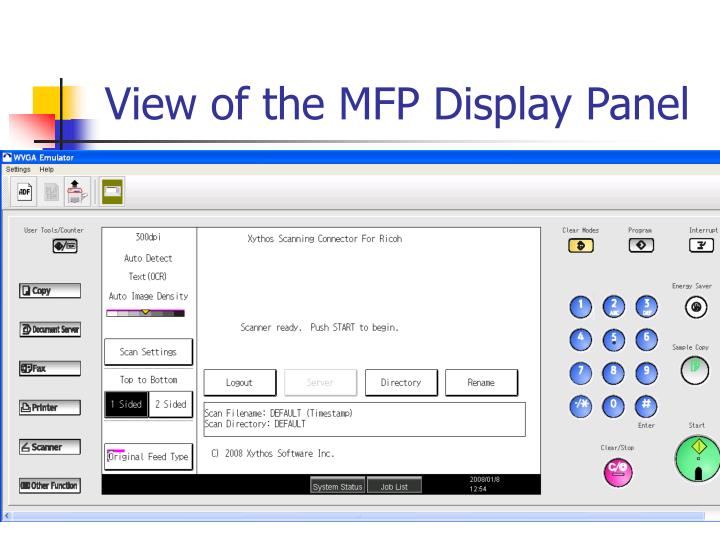 View of the MFP Display Panel