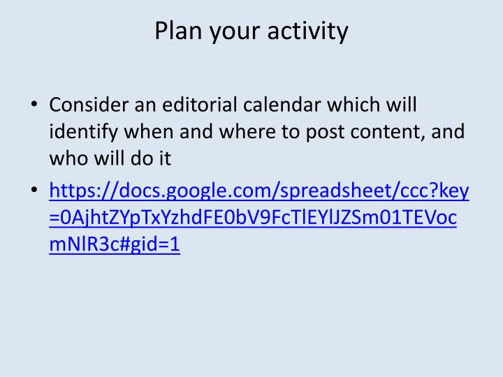 Plan your activity