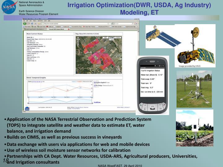 Irrigation Optimization(DWR, USDA, Ag Industry)