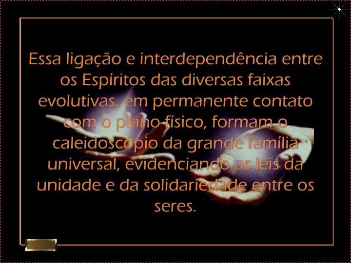 Essa ligação e interdependência entre os Espíritos das diversas faixas evolutivas, em permanente contato com o plano físico, formam o caleidoscópio da grande família universal, evidenciando as leis da unidade e da solidariedade entre os seres.