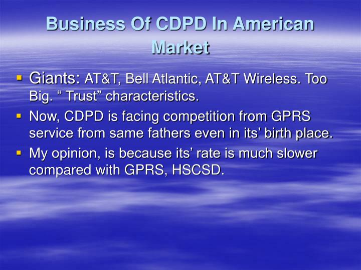 Business Of CDPD In American Market