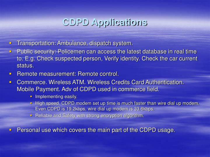 CDPD Applications