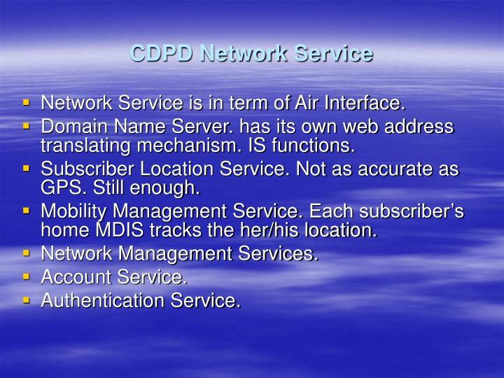 CDPD Network Service