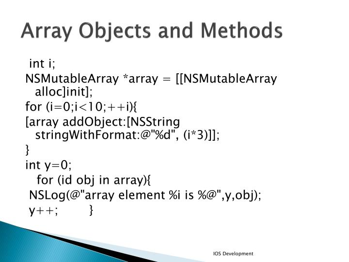 Array Objects and Methods