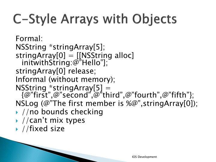 C-Style Arrays with Objects