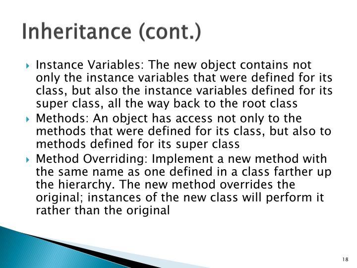 Inheritance (cont.)