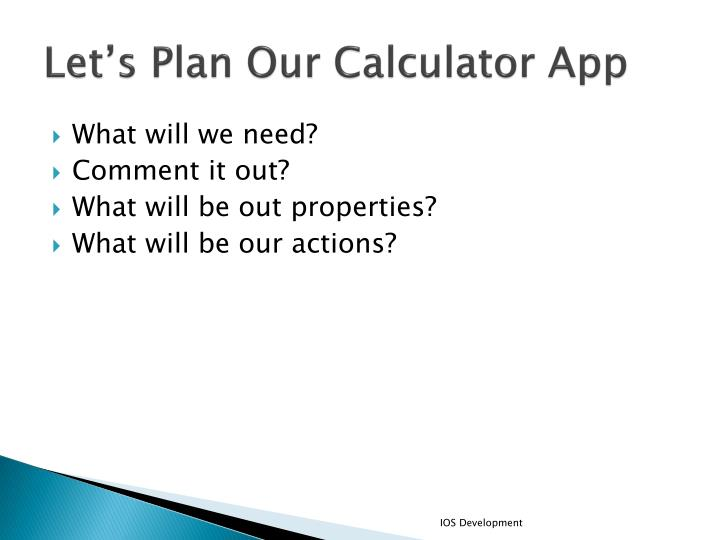 Let's Plan Our Calculator App