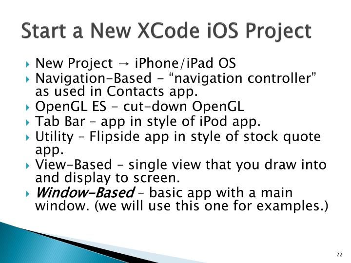Start a New XCode iOS Project