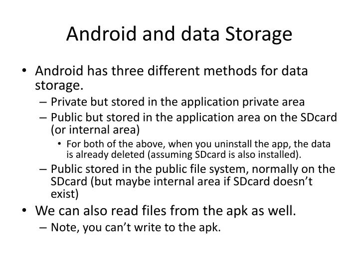 Android and data Storage