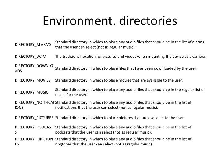 Environment. directories