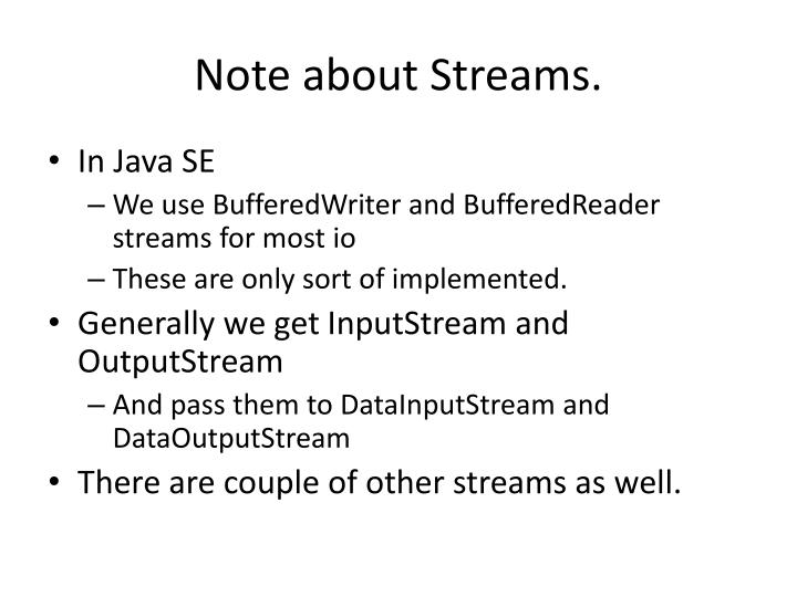 Note about streams