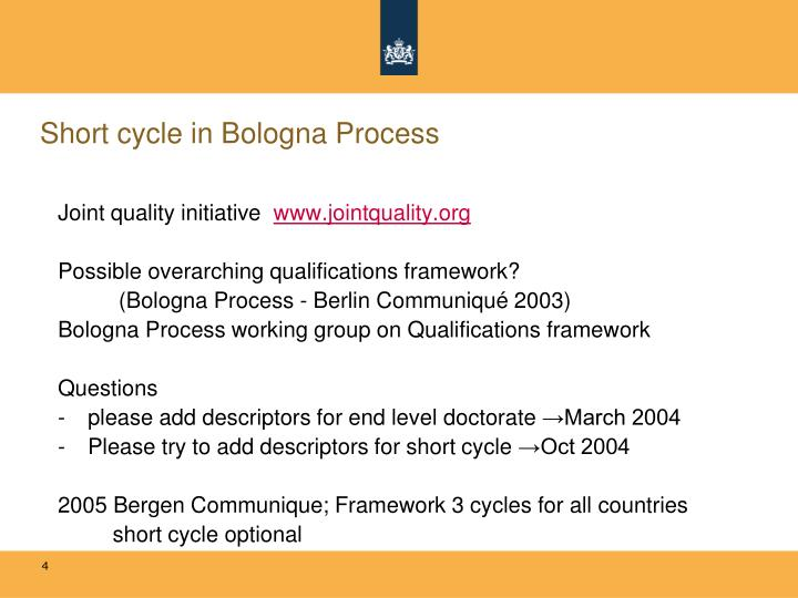 Short cycle in Bologna Process