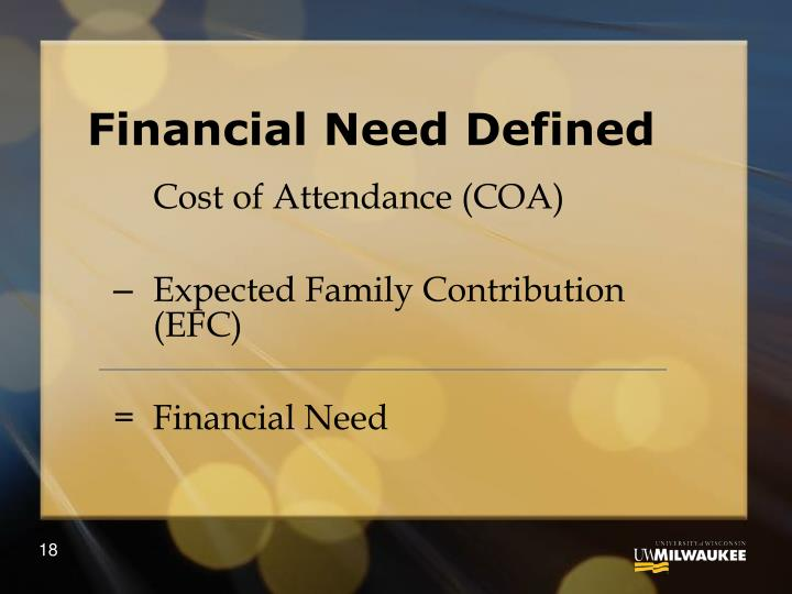 Financial Need Defined