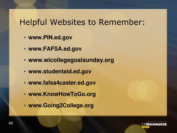 Helpful Websites to Remember: