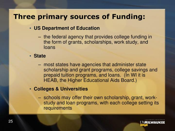 Three primary sources of Funding: