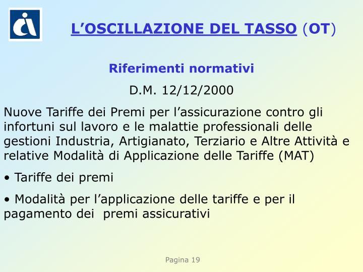 L'OSCILLAZIONE DEL TASSO
