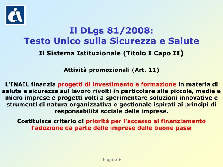 Il DLgs 81/2008: