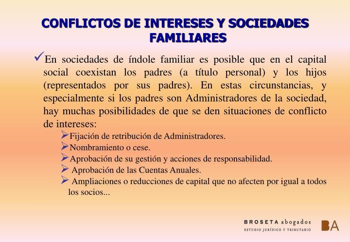 CONFLICTOS DE INTERESES Y SOCIEDADES FAMILIARES