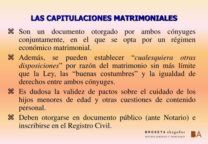 LAS CAPITULACIONES MATRIMONIALES