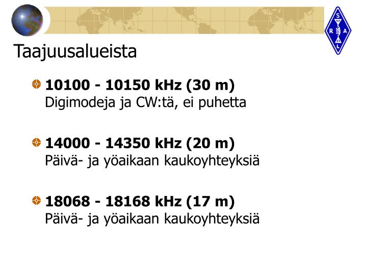 10100 - 10150 kHz (30 m)