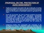proposal on the protection of agro biodiversity