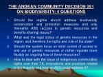 the andean community decision 391 on biodiversity 4 questions