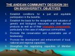 the andean community decision 391 on biodiversity objetives