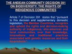 the andean community decision 391 on biodiversity the rights of indigenous communities