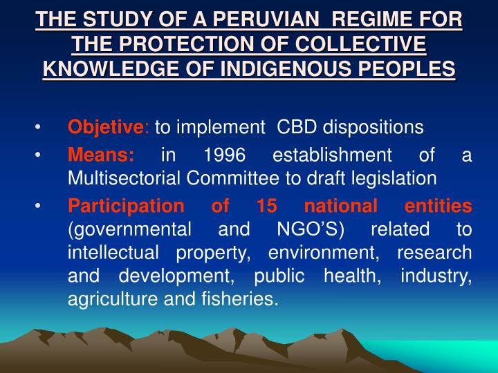 THE STUDY OF A PERUVIAN  REGIME FOR THE PROTECTION OF COLLECTIVE KNOWLEDGE OF INDIGENOUS PEOPLES